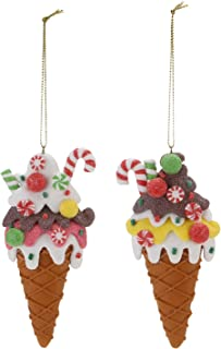 Sea Team Assorted Clay Figurine Ornaments Ice Cream Hanging Charms Christmas Tree Ornament Holiday Decorations, 5.1 inches, Set of 2