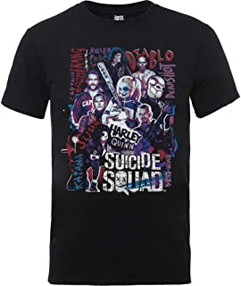 Official Mens Suicide Squad Harley Quinn Character Collage T-Shirt