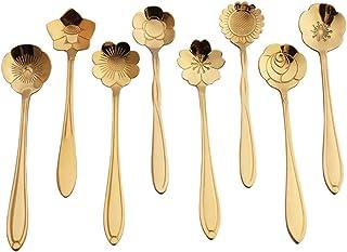 JUMEIHUI 8-piece flower spoon set, stainless steel reusable tea spoon stirring spoon coffee spoon mixing spoon sugar desse...
