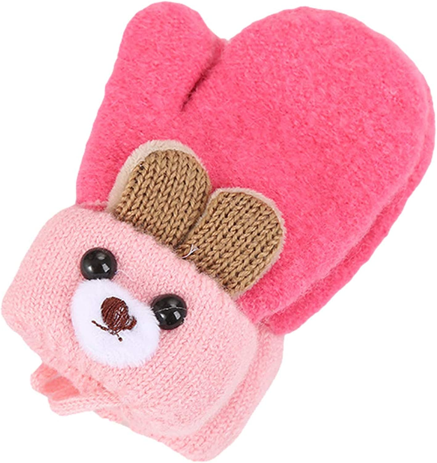1-3 Years Kids Mittens, Bear Knitted Lanyard 2-layer Girls Cold Weather Gloves for Christmas