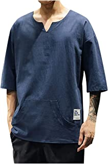 IHGTZS T-Shirts for Men, Men's Summer Casual Pure Color Cotton Linen Pocket Half Sleeve T-Shirts Tops