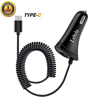 Lchrla Car Adapter, Type C Android Phone USB Car Charger with Coiled Fast Charging Cable Compatible for Samsung Galaxy S8 S9 S10 Plus Note 9 8, LG G7/G6/G5/V40/V30/V20 Google Nexus