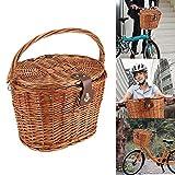 SUNASQ Cesta delantera para bicicleta de mimbre, cesta de picnic con tapa, asa para llevar