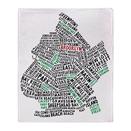 CafePress–Brooklyn NYC Typografie Kunst–weicher Fleece Überwurf Decke, 127x 152,4cm Stadion Decke, weiß, 50x60