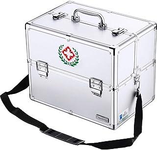 Umora薬箱 救急箱 応急処置 ショルダー 大容量 家庭用 業務用 小物入れ 18インチ シルバー 3層