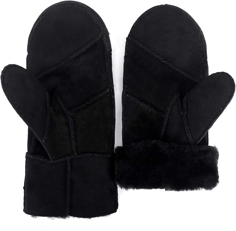 Mosa Women's Double Face Sheepskin Gloves Warm Leather Winter Mitten Herringbone Gloves