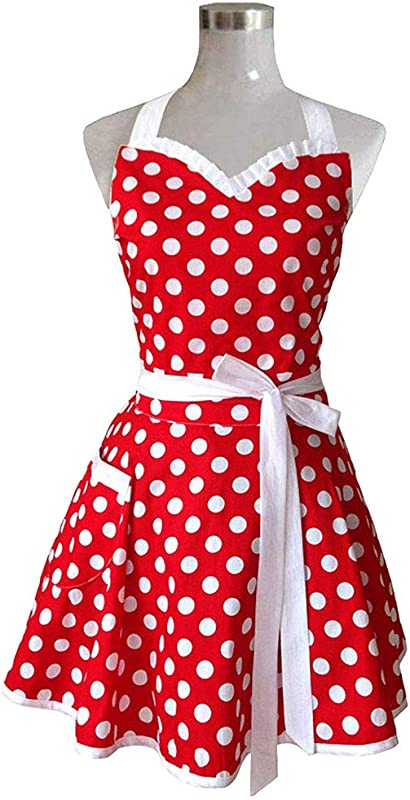 C Fei Retro Fashion Cute Red Kitchen Wave Point Apron Woman Girl Cute Polka Dot Cooking Adjustable Apron Vintage Apron Dress Holiday Must