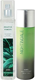Ajmal Primitive Forests EDT of 250ml & Nightingale Deodorant 200ml Combo pack of 2 (Total 450ML) for Men & Women + 4 Parfu...
