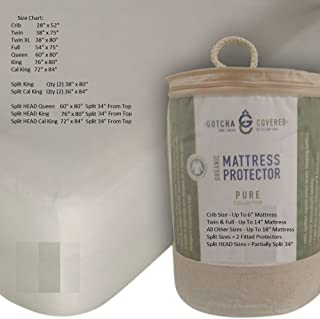 PURE 100% Certified Organic Cotton Jersey Waterproof Mattress Protector (King)
