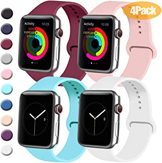Tobfit 4 Pack Sport Bands Compatible with Apple Watch Band 38mm 42mm 40mm 44mm, Soft Silicone Replacement Band Compatible with Watch Series 5/4/3/2/1
