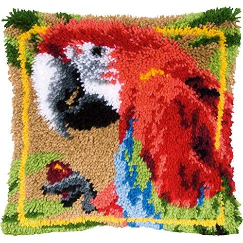 SxLingerie Knüpfteppich Für Kinder Erwachsene DIY Wurfkissenbezug Reizende Papagei-Handarbeit Kissenbezug Handhandwerk Häkeln Für Tolle Familie 43X43 cm,A