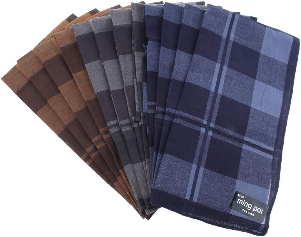 NC 12 / Pack Men's Plaid Square Soft Handkerchief