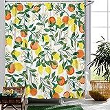 Fowocu Duschvorhang, Zitronengelb, Pfirsichfarben, Wasserfarben, Obst- & Blumenmotiv, Badezimmerdekoration, 183 x 183 cm