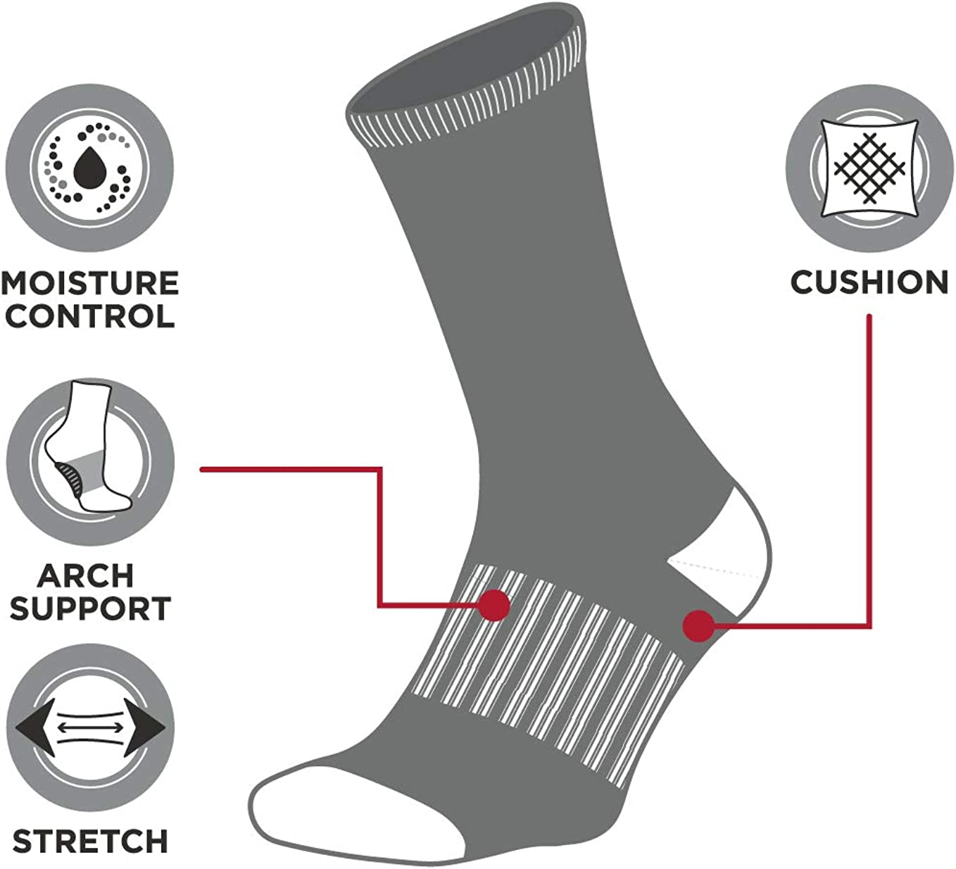 New Balance Boys' Cushioned Crew Socks with Reinforced Heel and Toe (4 Pack)
