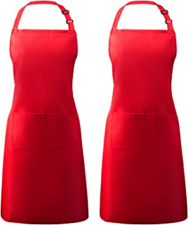 Syntus 2 Pack Adjustable Bib Apron Waterdrop Resistant with 2 Pockets Cooking Kitchen Aprons for Women Men Chef, Red