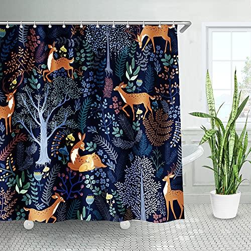 LIVILAN Stoff-Badevorhang, Duschvorhang, dekorativer Sichtschutz, Badezimmer-Vorhang mit Haken, Polyester, maschinenwaschbar, 183 x 183 cm 72