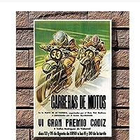 オートバイレースプロモーションヴィンテージホットギフトアートポスターキャンバス絵画家の装飾ポスターとプリント部屋の装飾60x80cmフレームなし