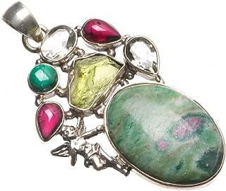 StarGems Ruby Zoisite,Malachite,Amethyst,Green Amethyst Rough Green Amethyst 925 Silver Pendant 2.25