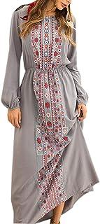 Abaya Musulmana Vestidos Maxi Mujer - Kaftan Manga Larga Ropa Arabe Largo Algodon