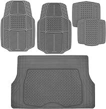 BDK AB110-C3 Gray RuggedDuty Car Rubber Floor Mats w/Cargo Trunk Liner for Auto Sedan SUV Van - Total Protection