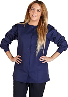 Natural Uniforms Women's Warm Up Jacket Medical Scrub Jacket (XS to 5XL) (Medium, True Navy Blue)