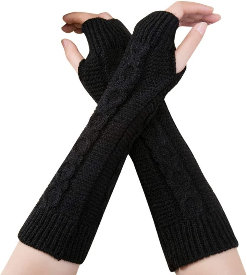 Unisex Gloves Women Gloves Stylish Hand Warmer Winter Gloves Women Arm Crochet Knitting Faux Wool Mitten Warm Fingerless Gloves - (Color: Black)