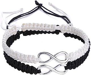 Rullarr 2Pcs Women Men Handmade Infinity Forever Lovers Friendship Family Braided Couple Cuff Link Strentch Bracelets