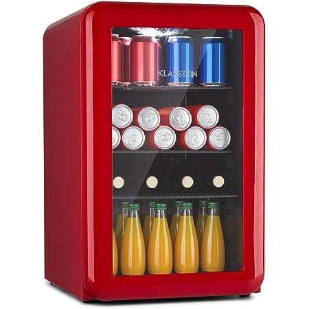 Klarstein PopLife - Réfrigérateur à boissons, design rétro, température : 0-10 ° C, classe d'efficacité énergétique A +, cadran mécanique, LED - 70 L, rouge