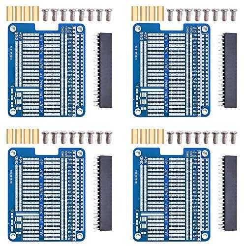 GeeekPi 4x Prototype Breakout DIY Breadboard PCB Shield Board Kit für Raspberry Pi 4 3 2 B+ A+ (Blau)
