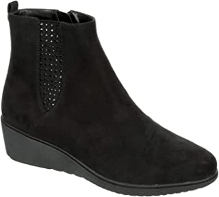 Eva & Zoe Charlotte - Womens Casual Comfortable Pointed Closed Toe Hidden Wedge Zip Up Accented Chelsea Ankle Booties