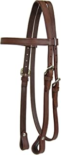 Tahoe Double Stitched Leather Browband Western Headstall Full Horse, Miniature and Pony sizes