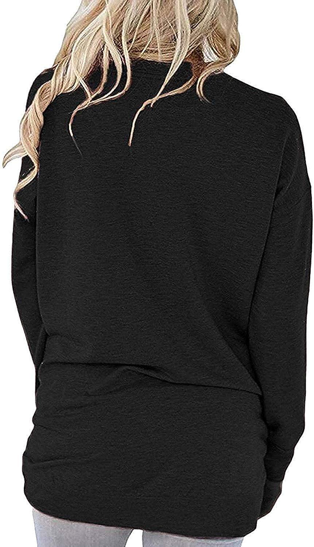 Akihoo Womens Crewneck Sweatshirt Casual Loose Fitting Tops Long Sleeve T Shirt