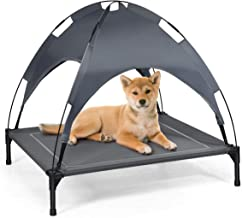 Giantex Elevated Dog Bed with Removable Canopy, Portable Raised Pet Cot Cooling Dog Bed for Camping Beach Lawn, Keep Dogs ...