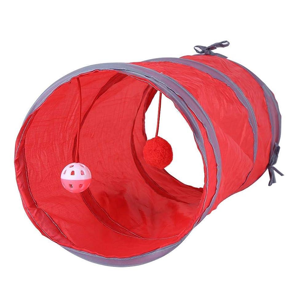 出会い刑務所熱心ペットチューブ、青/赤の環境に優しい猫のトンネルのおもちゃ、猫キティ用の2つのボールで折りたたみ式の18.5x9.8inch(red)