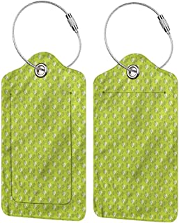 Travel Baggage ID Identifiers Label, Personalized Luggage Tag, Address Card and Privacy Cover Green Abstract Falling Leaf (1,2 & 4 Pack)