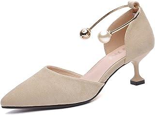 HWF レディースシューズ ハイヒール女性の女性の靴春の尖った浅い口の靴 ( 色 : Apricot color , サイズ さいず : 37 )