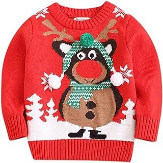 K-Youth Blusa de Punto Niño Invierno Navidad Reno Suéter Niña Ropa Bebe Niño 1 a 6 Años Jersey para Niñas Ropa Bebe Niña C...