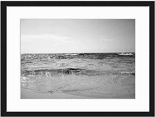 Wood Framed Canvas Artwork Home Decore Wall Art (Black White 20x14 inch) - Sea Beach Wave Ocean Holiday Sand Cyprus