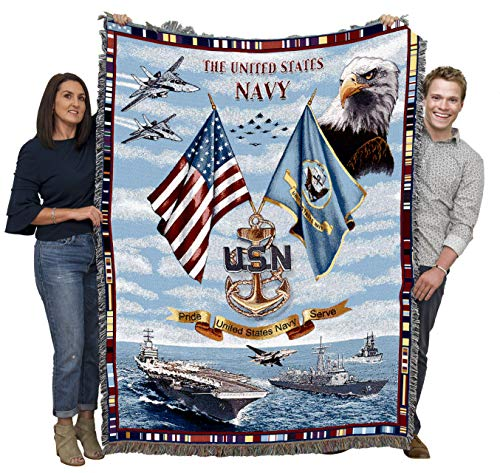 US Navy - Blanket Throw Woven from Cotton - Made in The USA (72x54)