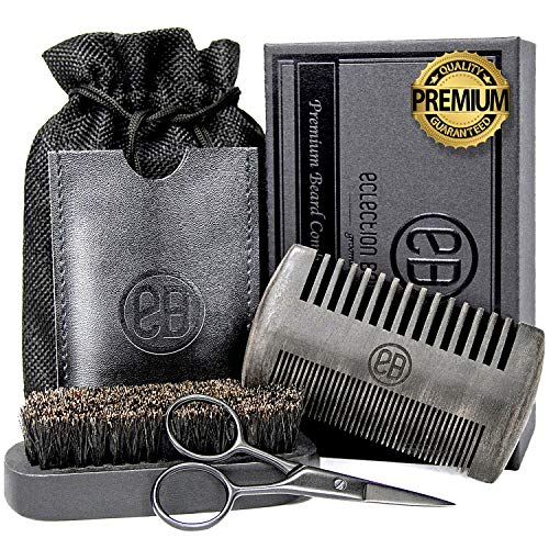 Beard Brush & Beard Comb Kit, Natural Boar Bristle Brush, Authentic Sandalwood Dual Action Comb & Durable Case, Mustache Trimming Scissors, Linen Pouch Bag, Gift Box Set for Men's Daily Grooming Care