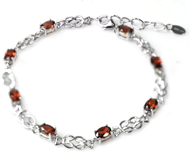 De Buman Sterling Silver Genuine Garnet Solid Bracelet