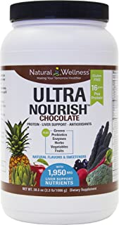 UltraNourish Chocolate Vegetarian Superfood Shake - Total Body Support for The Liver, Heart, and Digestive Health - 38.3 oz Natural Wellness 16g Pea Protein Powder Drink Mix - 30 Servings