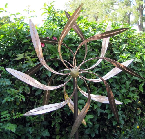 Stanwood Wind Sculpture: Kinetic Copper Wind Sculpture Dual Spinner - Dancing Willow Leaves