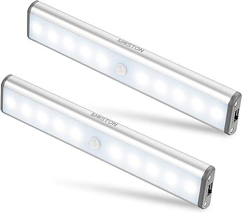 Moston Lot de 2 Lampes 10 LED, Sans Fil, Rechargeable par USB, Aimanté, Détecteur de Mouvement, 2 Modes d'Éclairage, ...