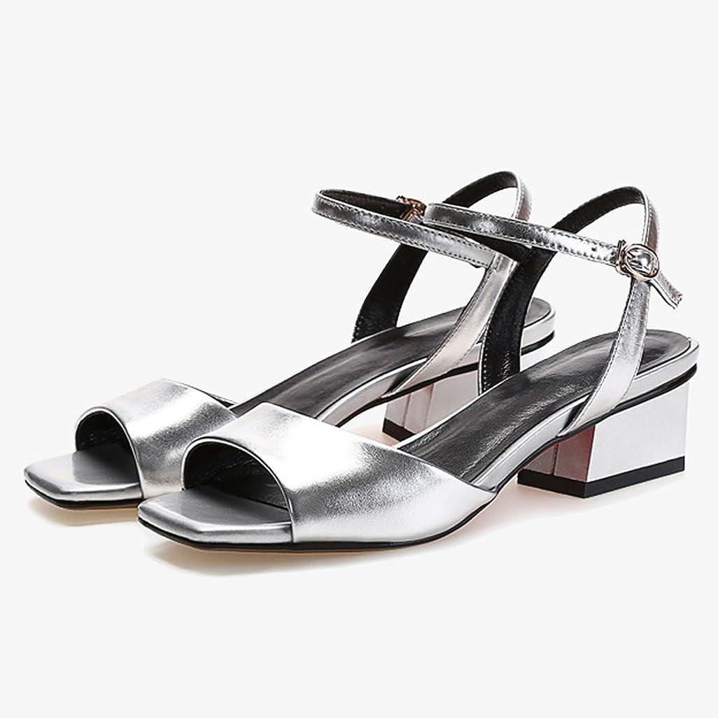 困惑した残酷補助金WANGXIAOLIN ファッションオープントゥの女性の靴と厚いレザーヒールサンダル女性の夏の魚の口 ( 色 : シルバー しるば゜ , サイズ さいず : 35 )