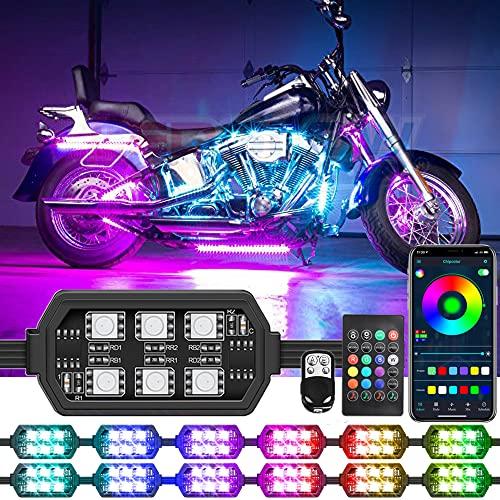 Chipcolor 12 Pcs Motorcycle LED Light Kit, APP/RF...