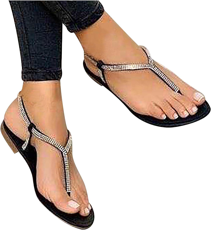 Sandals for Women Casual Summer Rhinestone Open Toe Sandals Slip