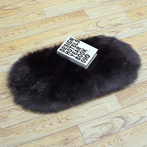 Rug Faux Sheepskin, Lambskin Fur, Fluffy for The Bedroom, Living Room or Nursery, Furry Carpet or Throw for Chairs, Stools and Couches (Color : Dark Grey, Size : 40cm60cm)