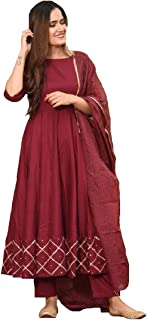 Monika Silk Mill Women's Cotton Silk Embroidered Semi Stitched Anarkali Salwar Suit with Dupatta - Maroon Color