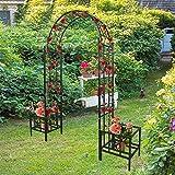 Arco de Rosas Negro Arco de Jardin Arco Diseño Enrejado para Plantas Trepadoras Y Rosales para Terraza Patio L 205cm x W 45cm x H 226cm Pérgola con 2 Jardineras